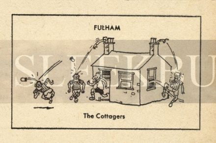 VINTAGE Football Print FULHAM - THE COTTAGERS Funny Cartoon